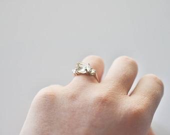 3 Stone Raw Diamond Handmade Engagement Ring Rough Natural and Uncut Wedding Band Raw Gemstone
