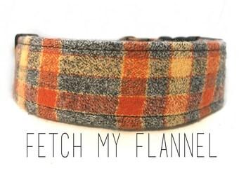 Dog Collar, Fetch My Flannel (ORANGE)