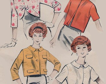 Vintage 1950s  Cropped Jacket Bolero Four Variations Butterick 8939 50s Quick & Easy Sewing Pattern Size 12 Bust 32 UNCUT