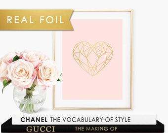 Geometric Heart - Baby Girl Nursery - Blush Pink and Real Gold Foil Wall Art