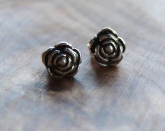 Petite Silver Rose Stud Earrings, Open Rose Fine Silver Post Earrings - Rose Earrings