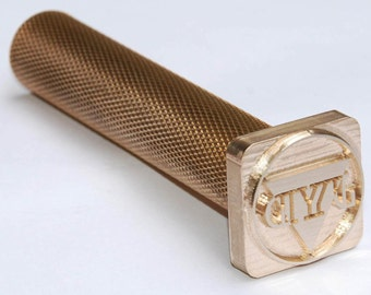 knurled brass Handle hammering handle for leather emboss with veg-tan leather Custom Leather Stamp