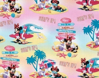 Minnie Mouse & Daisy Surf's Up Cotton Fabric by the yard