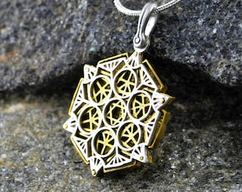 Sacred Geometry Project -  Star of David Tetrahedron pendant - two tone - three layers - precision crafted jewelry.