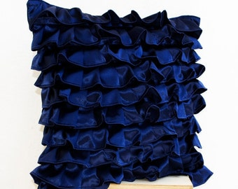 Navy Blue Satin Ruffle Pillow, Decorative pillow, Dark Blue Ruffle throw pillow, Ruffle throw cushion, Navy blue satin, Mother's day gifts