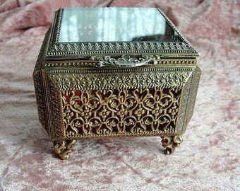 BEAUTIFUL Vintage English Made Jewel Casket, Ormolu Filigree Jewelry Box, Footed Box,Substantial Vanity Box, Beveled Glass Jewel Box