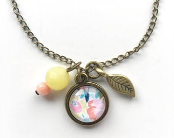Floral Pendant and Charm Necklace, Floral Jewelry