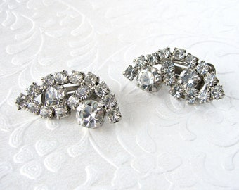 1950s Rhinestone Clip Back Earrings Formal Costume Jewelry Ballroom Pageant Bridal Wedding Evening Prom Bohemian Elegant Boho Vintage Bride