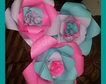 Mult color paper flowers (set of 3)