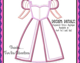 Princess Rapunzel Dress from Tangled Digital Embroidery Machine Applique Design File 4x4 5x7 6x10
