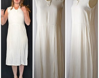 Vintage 1920s Ivory Silk Crepe Shift Sheath Dress 36 Inch Bust