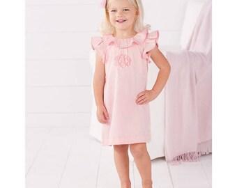 Light pink faille dress by Mud Pie, monogrammed girls dress, girls  dress, summer dress, baby girl beach dress,ruffle sleeves