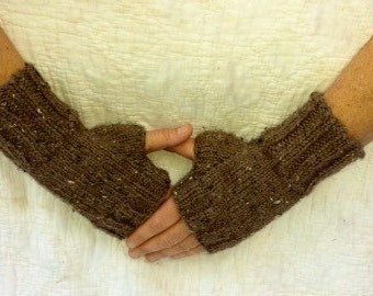 Knit Fingerless Gloves in Brown -  Knit Handmade Fingerless Gloves - Knit Arm Warmers - Fingerless Mittens  - Women's Accessories