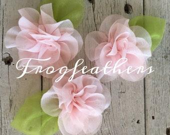"New-BLUSH PINK CHIFFON Flower with Leaf-2 1/2"" (flower size) set of 3"