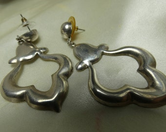 Mexican Silver drop and dangle earrings- 19 grms- 35mm wide-post to bottom 65mm - very attractive- 2254