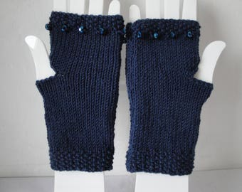dark blue handwarmers, merino wool mittens, bead trim mitts, blue texting gloves, fingerless mitts, holiday gift for her, wool wristwarmer