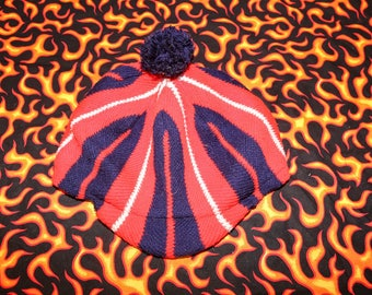 1970's 76 bicentennial vintage hat red white and blue knitted pom pom and bill