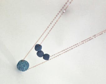 Two-wire necklace with lava stone blue