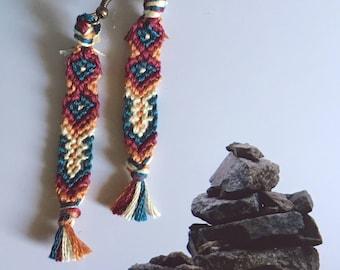 Handmade friendship bracelet earrings