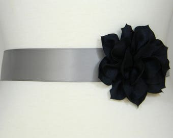Navy Blue and Silver Gray Bridal Sash, Wedding Belt, Bridal Belt, Flower Girl Dress Sash, Bridesmaid Belt, Satin Sash Belt, Simple Sash POSY