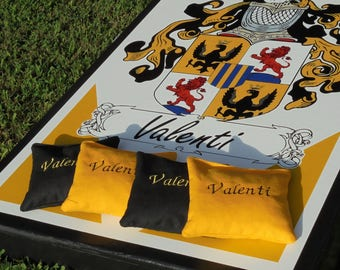 Handmade Deluxe Custom Family Name/Crest Cornhole Set
