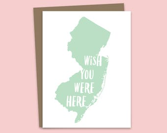 New Jersey Card, Thinking of You Card, Wish You Were Here Card, Missing You Card, Friendship Card, Jersey City, Garden State, Jersey Shore