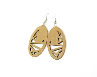 Abstract Chook (Tasmanian Sassafras wood earrings)