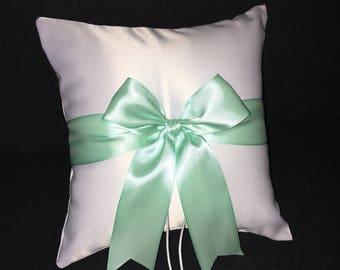 Mint Green Bow Ivory or White Wedding Ring Bearer Pillow