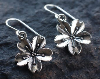 Silver cherry blossom earrings | Sakura earrings | Floral sterling silver earrings | Japanese flower earrings | Botanical earrings