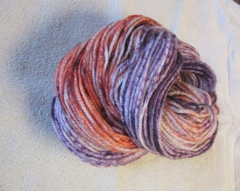 100% Alpaca -Gradient Yarn Cake Hand Dyed - Colors of Purple and Salmon - 3 Ply Worsted Weight Yarn - 200 Yds - 9-11 WPI