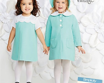 Simplicity Sewing Pattern 1207 Vintage Toddlers' Dress, Coat and Bonnet