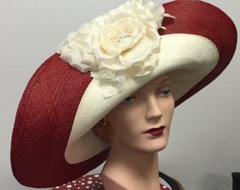 Kentucky Derby Hat WIDE BRIM Red Straw and Ivory Panama Straw Women's Hat