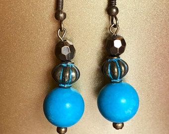 "Blue Turquoise Antique Patina Bronze Bead Dangle Earrings 1.9"" Long"