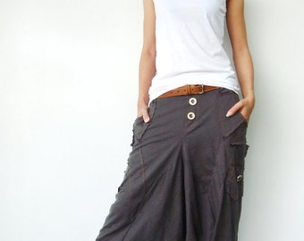NO.95 Charcoal Cotton Jersey Casual Harem Pants, Unique Pockets Drop-Crotch Trousers, Unisex Pants