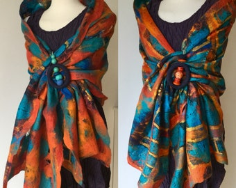 Nuno Felted Buddha scarf - wool silk collage - orange turquoise blue gold - scarf wrap - gift for her - art to wear lagenlook
