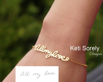 10K, 14K or 18K Solid Goldor Sterling Silver - Handwriting Name, Message or Signature Bracelet - Yellow, Rose or White