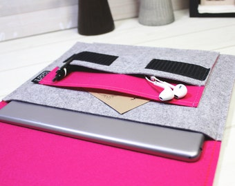 6 inch tablet case, 8 inch tablet sleeve, iPad Mini Sleeve, iPad mini 4 case, light gray sleeve, modern iPad case, pink sleeve, felt sleeve