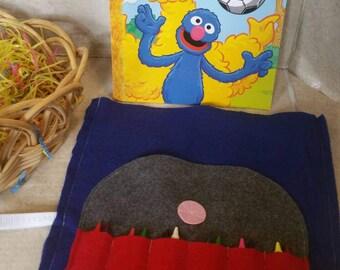 Coloring Book Holder, Crayon Tote, Crayon Roll, Crayon Organizer, Crayon Holder, Kids Travel Bag, Kids Easter Gift, Crayon Bag, Basket Gift