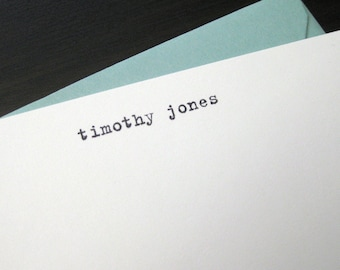typewritten personalized notecards