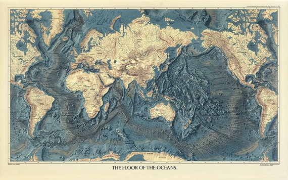 Map of the worlds ocean floors and land relief 1976 gumiabroncs Choice Image