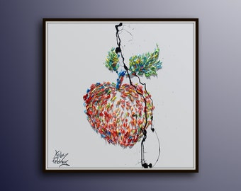 """Painting 25"""" , Apple oil painting, Still life, Original Hand made oil painting on canvas, By Koby Feldmos"""