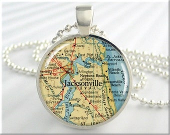 Jacksonville Map Pendant, Resin Pendant, Jacksonville Florida Map Necklace, Picture Jewelry, Gift Under 20, Round Silver 523RS