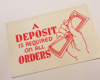 Authentic Vintage 50s DEPARTMENT STORE Window Sign - A Small Deposit Required on All Orders
