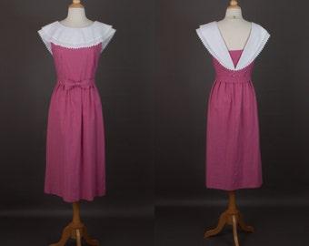 vintage 80s Lanz dress mauve pink open back