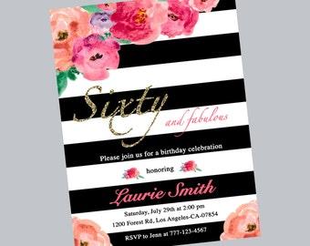 Watercolor floral 60th birthday invitation,flowers invitation,birthday party,birthday invitation,stripe,black white,printable,digital file