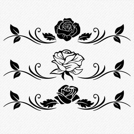 Rose Silhouette Rose Clipart Rose Vector Roses Clipart
