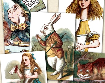 Printable Alice in Wonderland, Vintage Alice in Wonderland for Pendants, Alice in Wonderland Collage Sheet, 1x1.5 inches - piddix 330