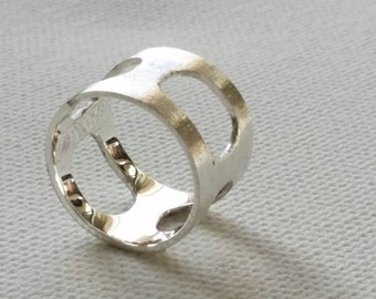 Silver band. Handmade. wide open spaces. brushed texture. polished inside. Elegant.