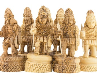Olive Wood Carved Chess 32 Figures Full Set of Chess Exclusive Art Craft Collection