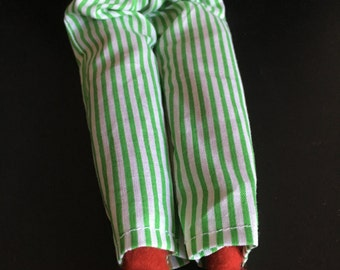 Green and White Stripe Pants by Christmas Shelf Clothes for Boy Or Girl Elf or Pixie